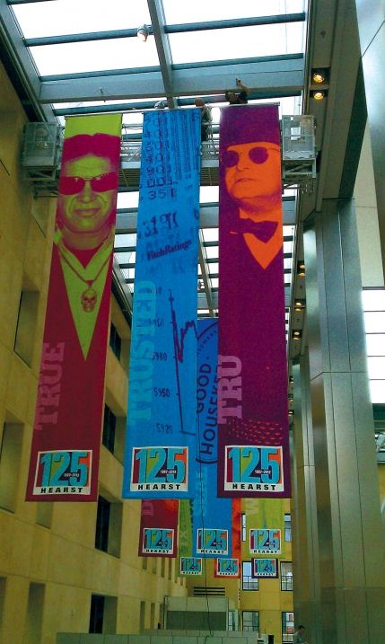 hanging banners in museum