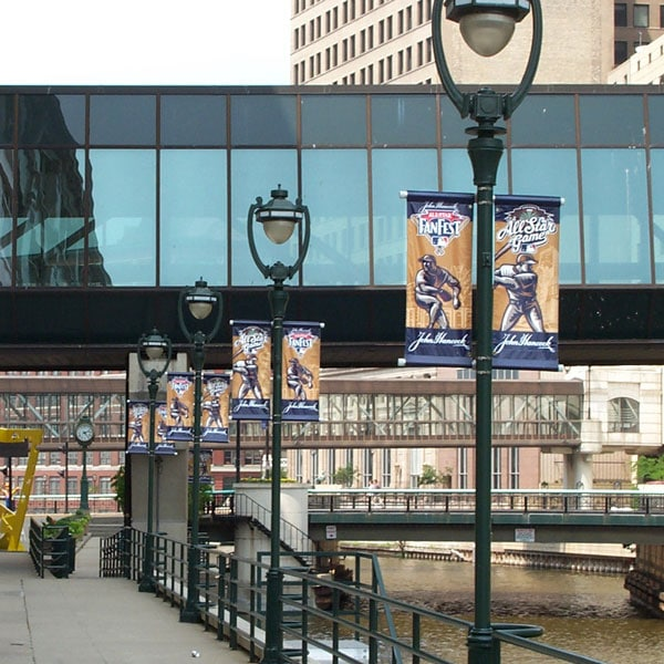 Custom Printed Street Banners on the street poles